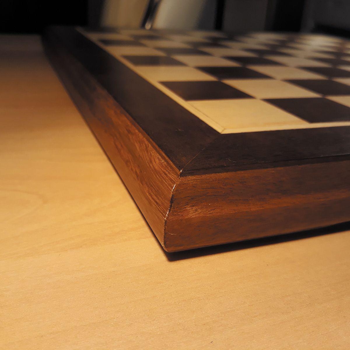 Tabuleiro de Xadrez Plano Marchetado madeira nobre 35x35cm