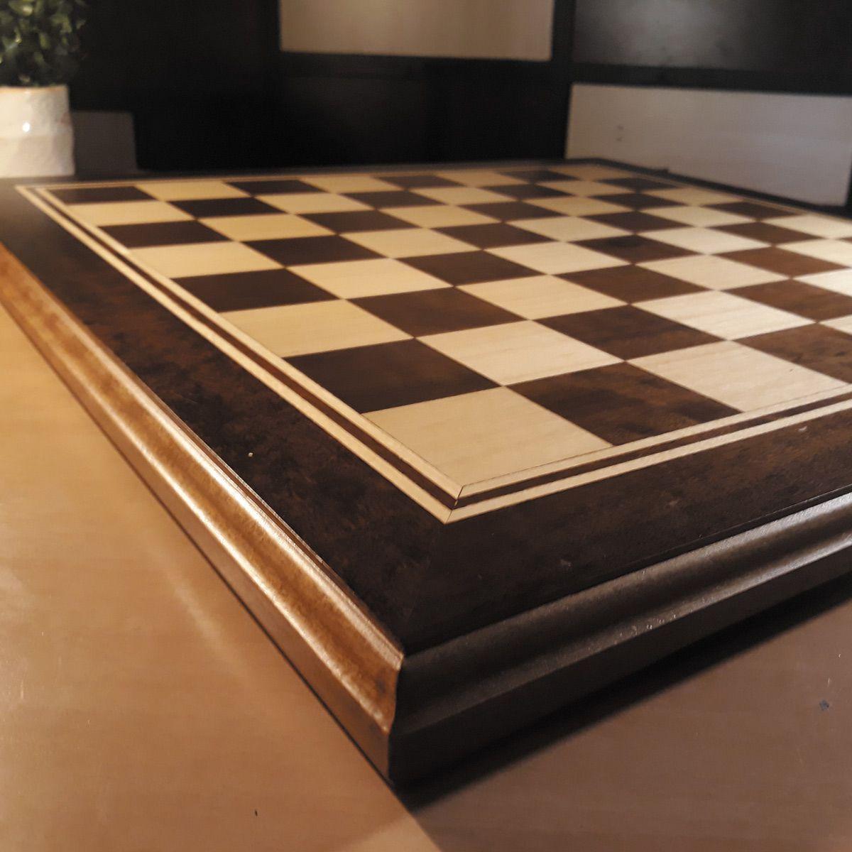 Tabuleiro de Xadrez Plano Marchetado madeira nobre 46x46cm