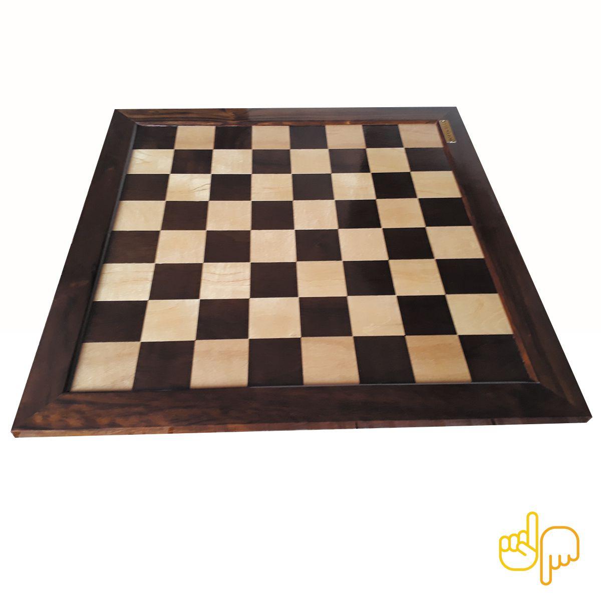 Tabuleiro de Xadrez Plano Marchetado madeira nobre 62 X 62 cm