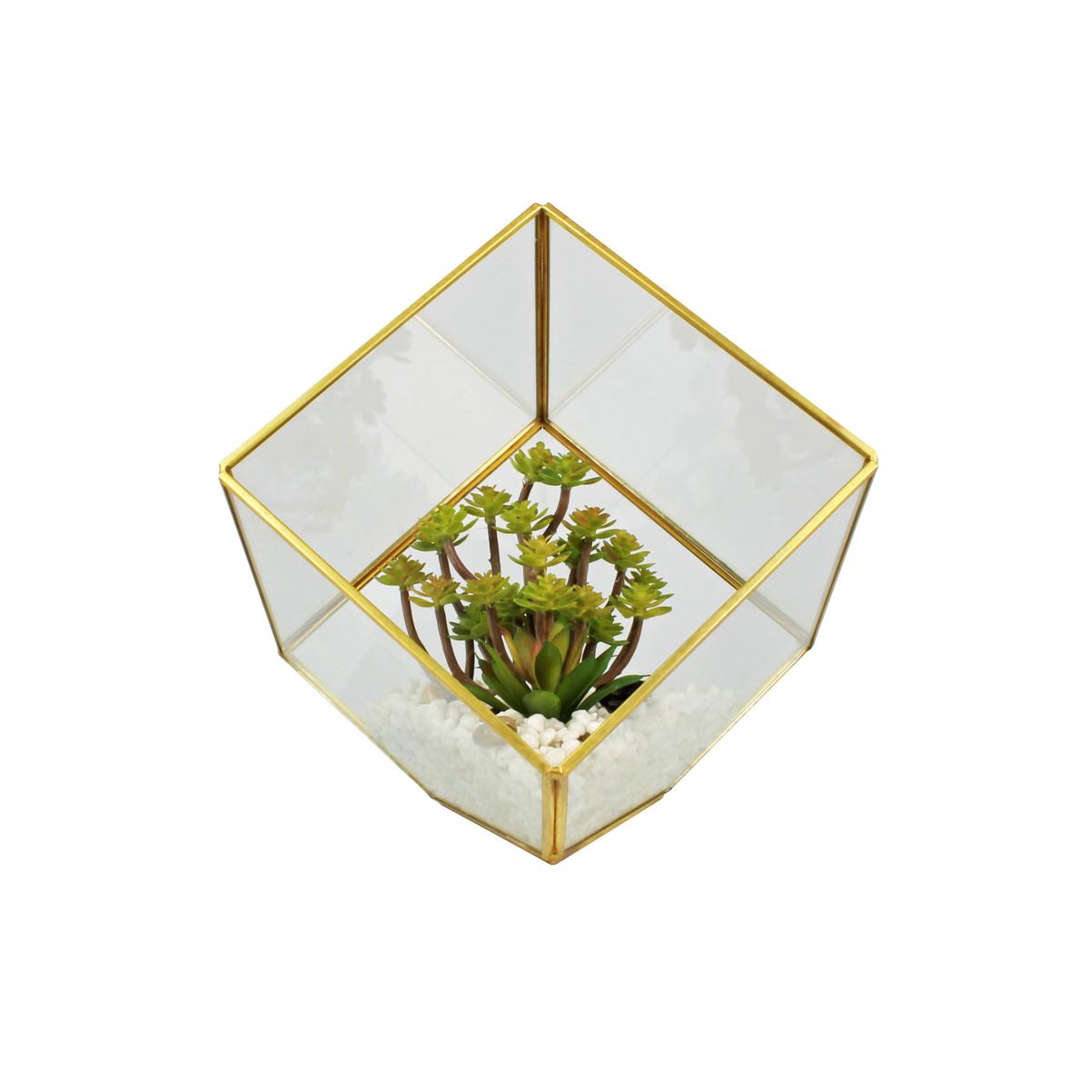 Terrário Decorativo C/ Plantas Artificiais Mod. Cubo Dourado
