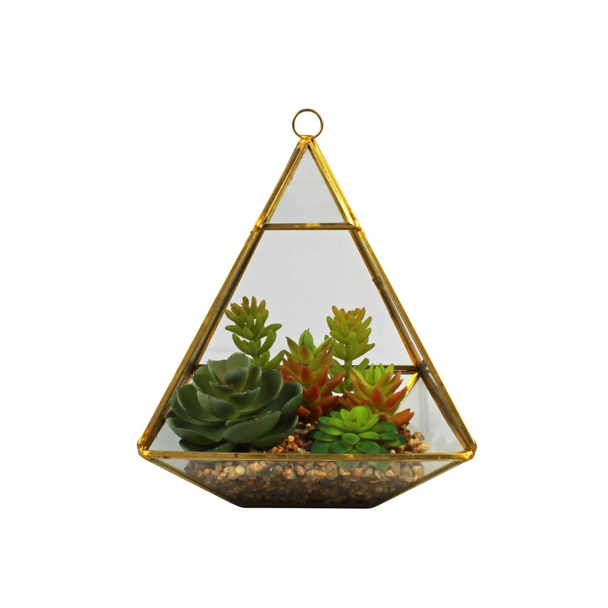 Terrário Decorativo C/ Plantas Artificiais Mod. Pirâmide Dourada 20,5cm