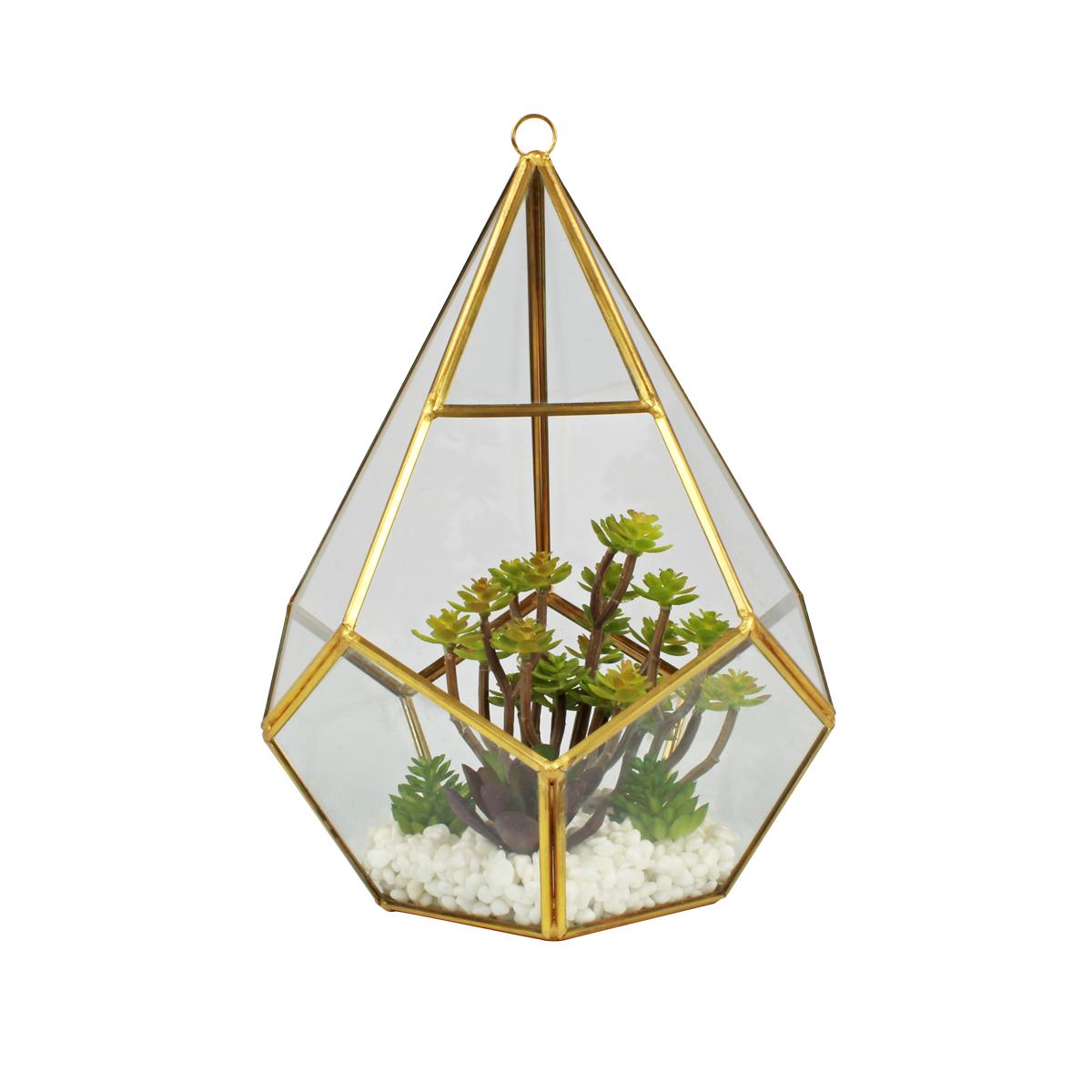 Terrário Decorativo C/ Plantas Artificiais Mod. Pirâmide Dourada