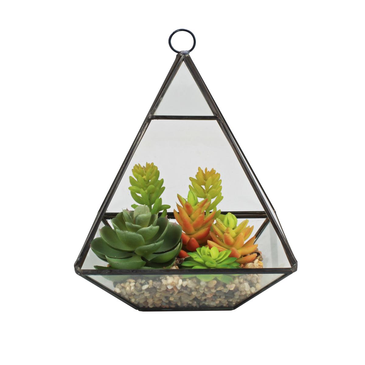 Terrário Decorativo C/ Plantas Artificiais Mod. Pirâmide Preta