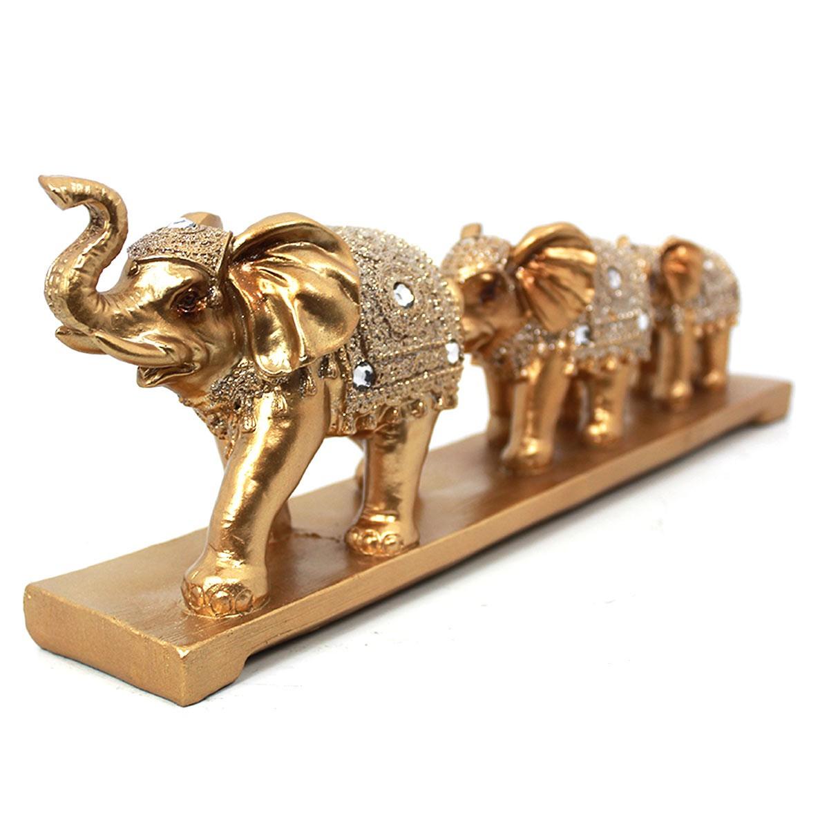 Trio Decor Golden Elephants Luxo Verito
