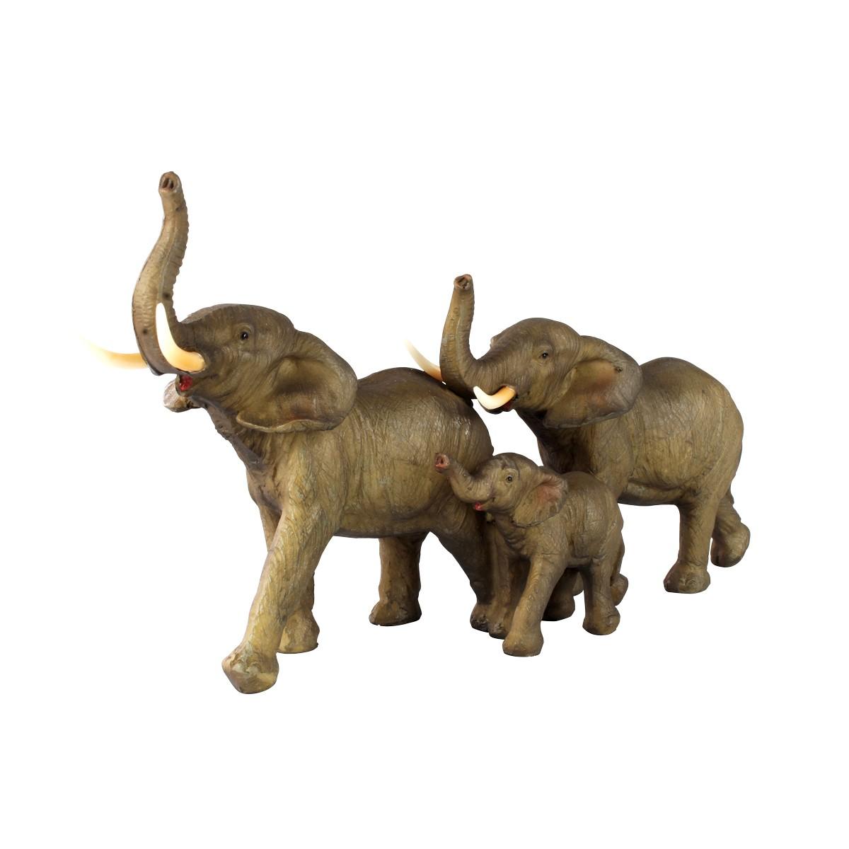 Trio Decorativo De Resina Família Elefante Verito