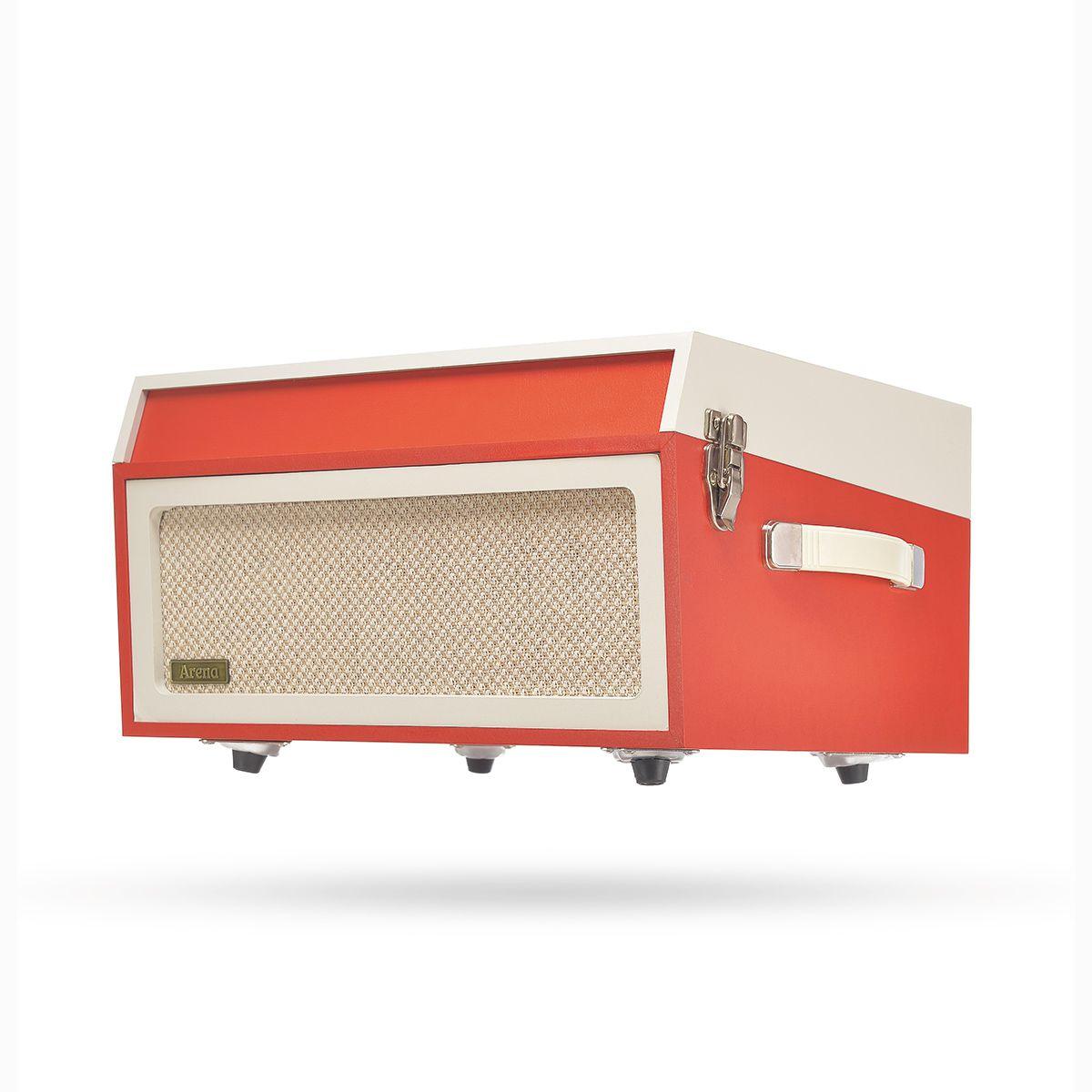Vitrola Raveo Arena na cor Red e creme com Selo Anatel Toca-Discos, FM, BT E USB