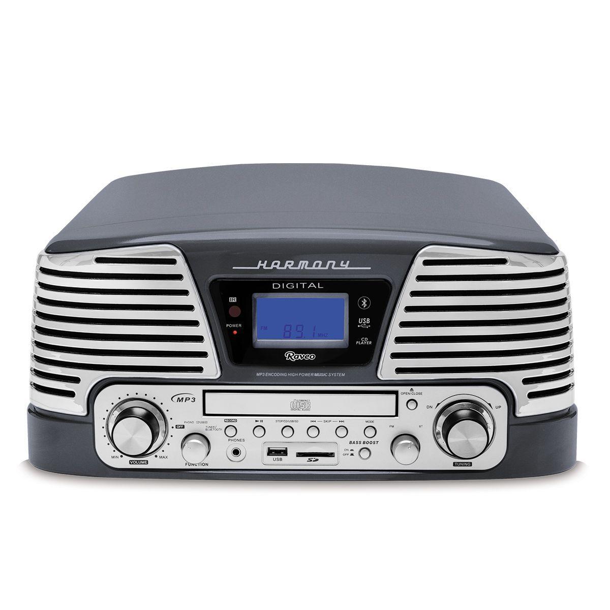 Vitrola Raveo Harmony Preto C/ Toca Discos, CD, BT, USB E SD - Selo Anatel