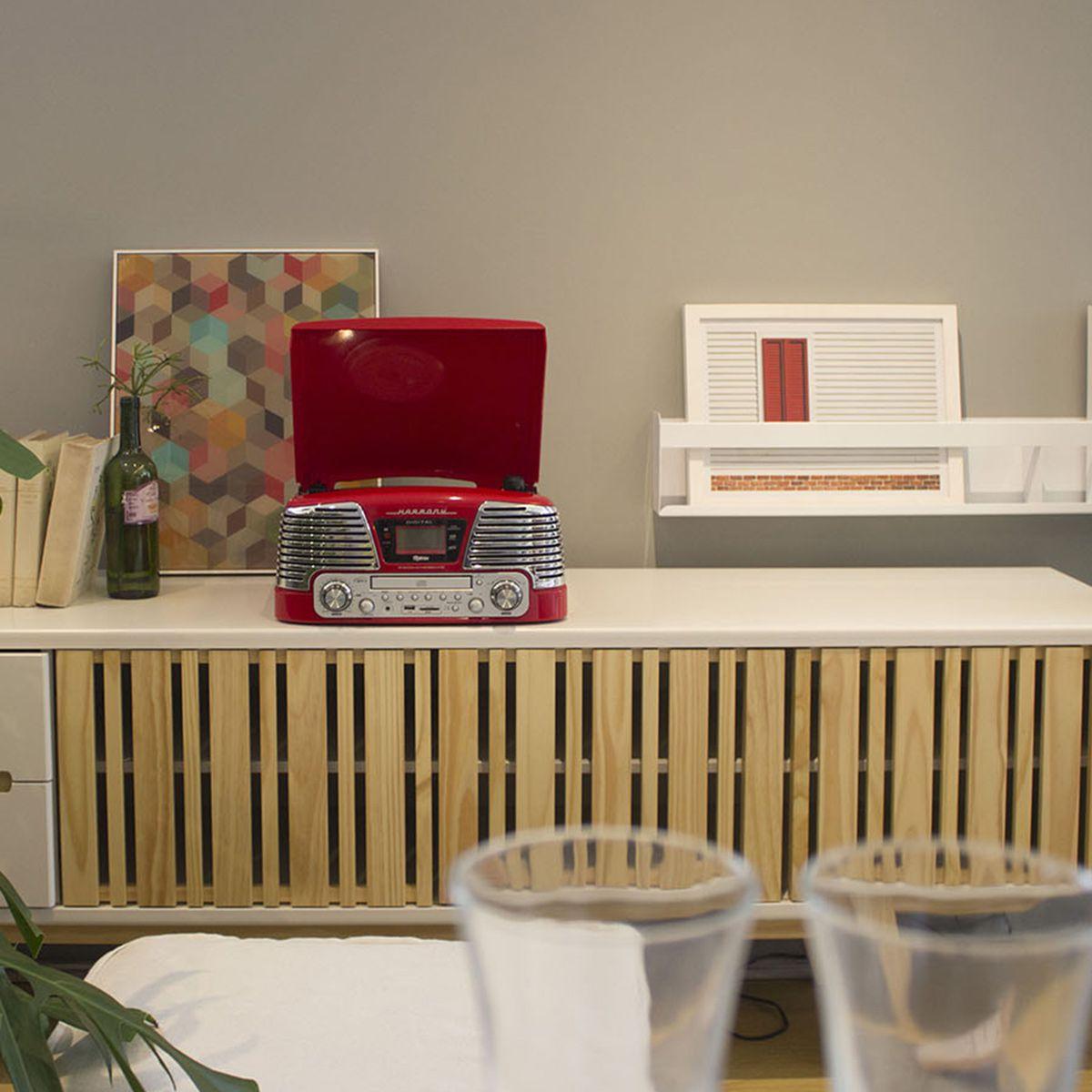 Vitrola Raveo Harmony Vermelho C/ Toca Discos, CD, BT, USB E SD - reproduz e grava