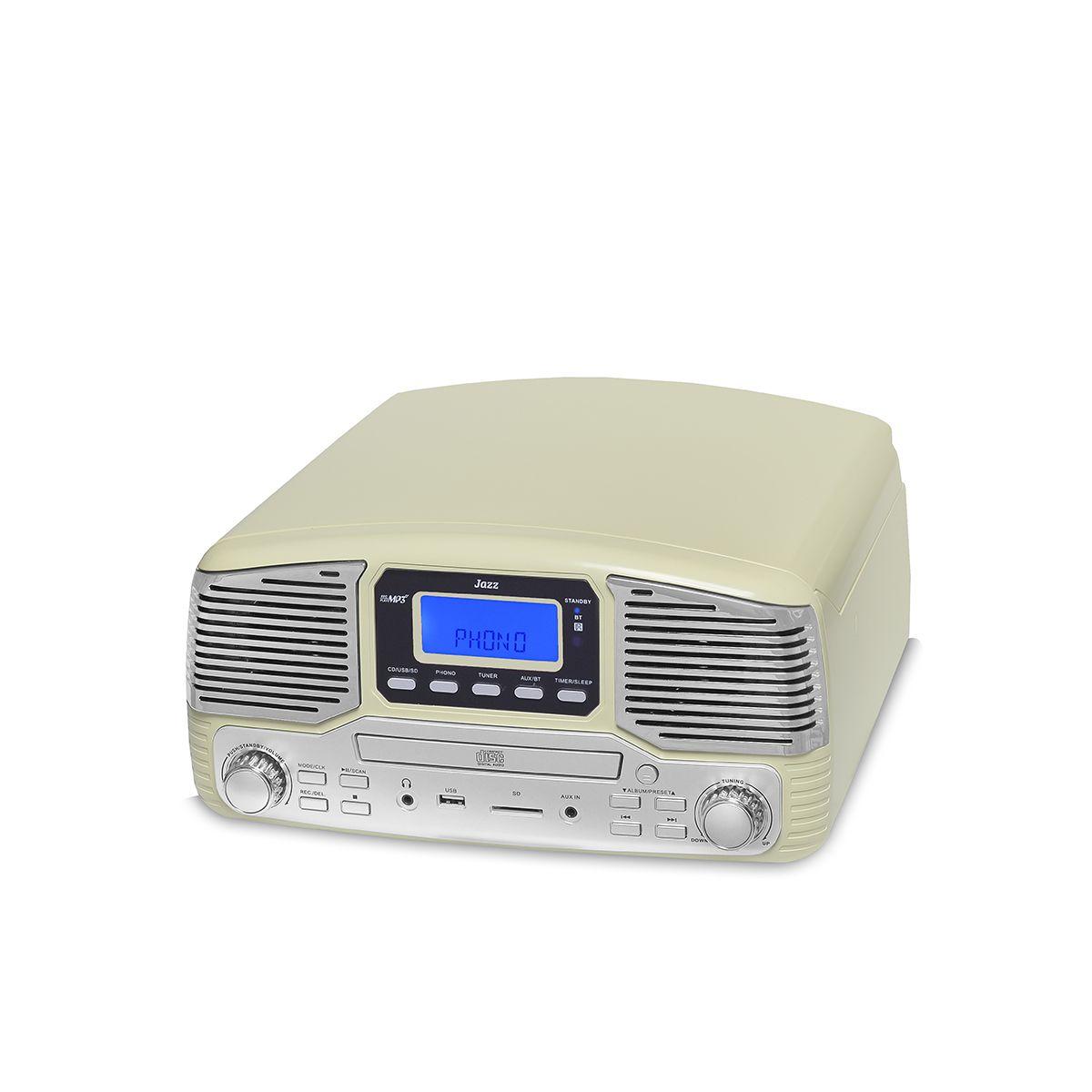 Vitrola Raveo Jazz Creme Toca Disco, Bluetooth, CD, FM, USB e SD Rec