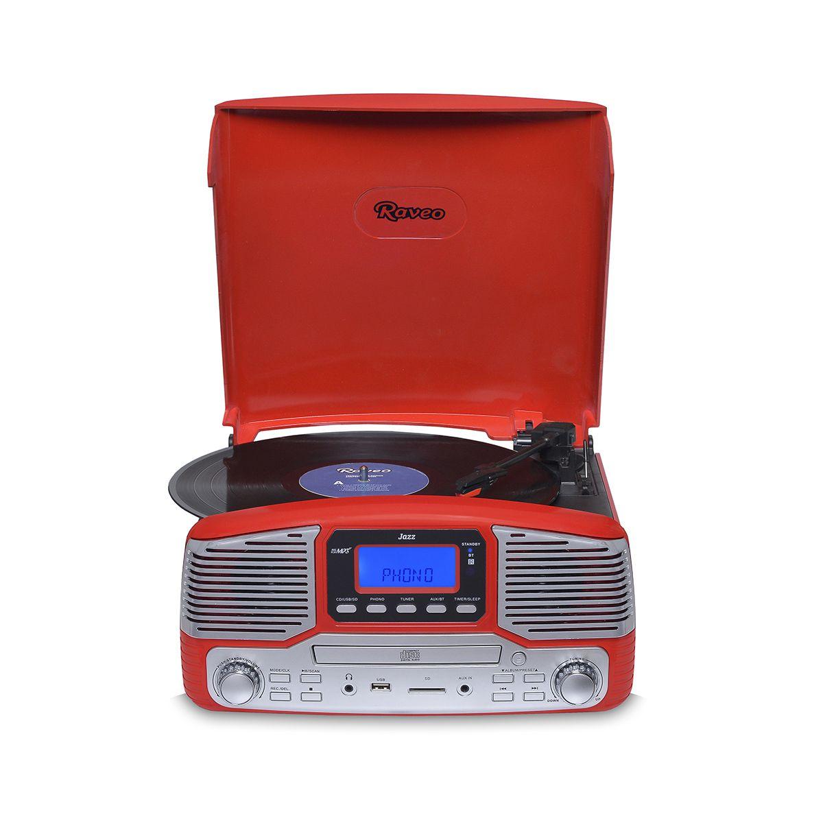 Vitrola Raveo Jazz Vermelho Toca Disco, Bluetooth, CD, FM, USB e SD Rec