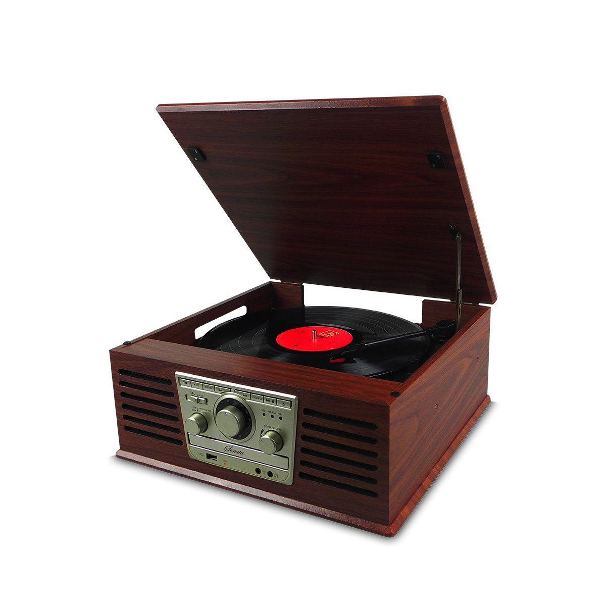 Vitrola Raveo Sonata BT - Toca-Discos, CD, Bluetooth, FM Original