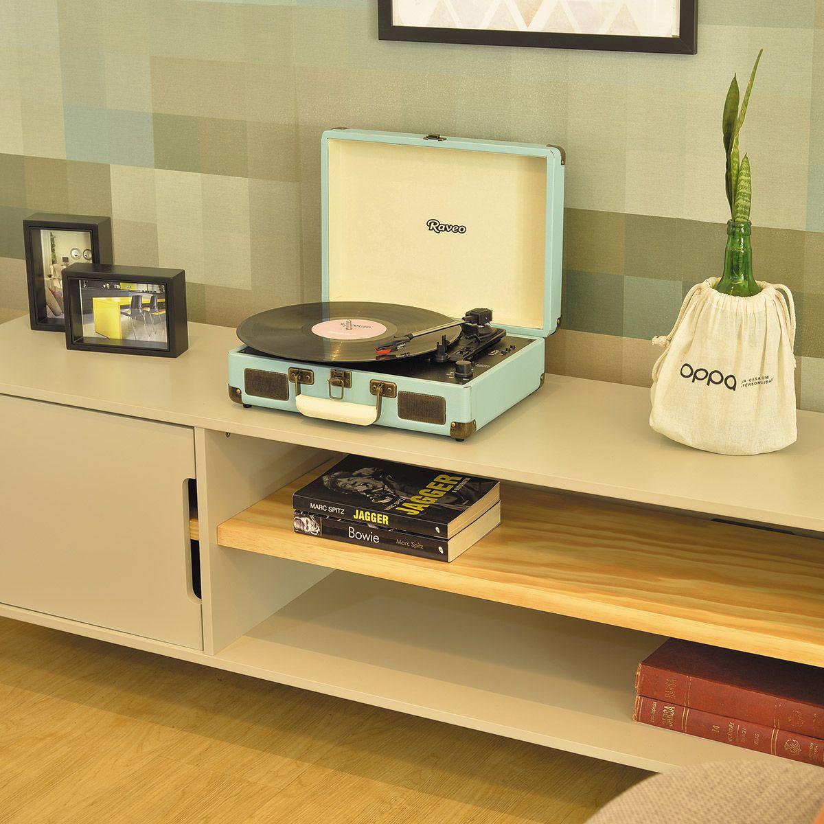 Vitrola Raveo Sonetto Light Blue c/ Toca Disco, bluetooth, USB Rec, Selo Anatel