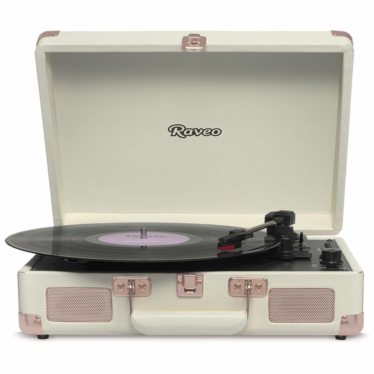 Vitrola Raveo Sonetto Rose Gold c/ Toca Disco, bluetooth, USB Rec Selo Anatel