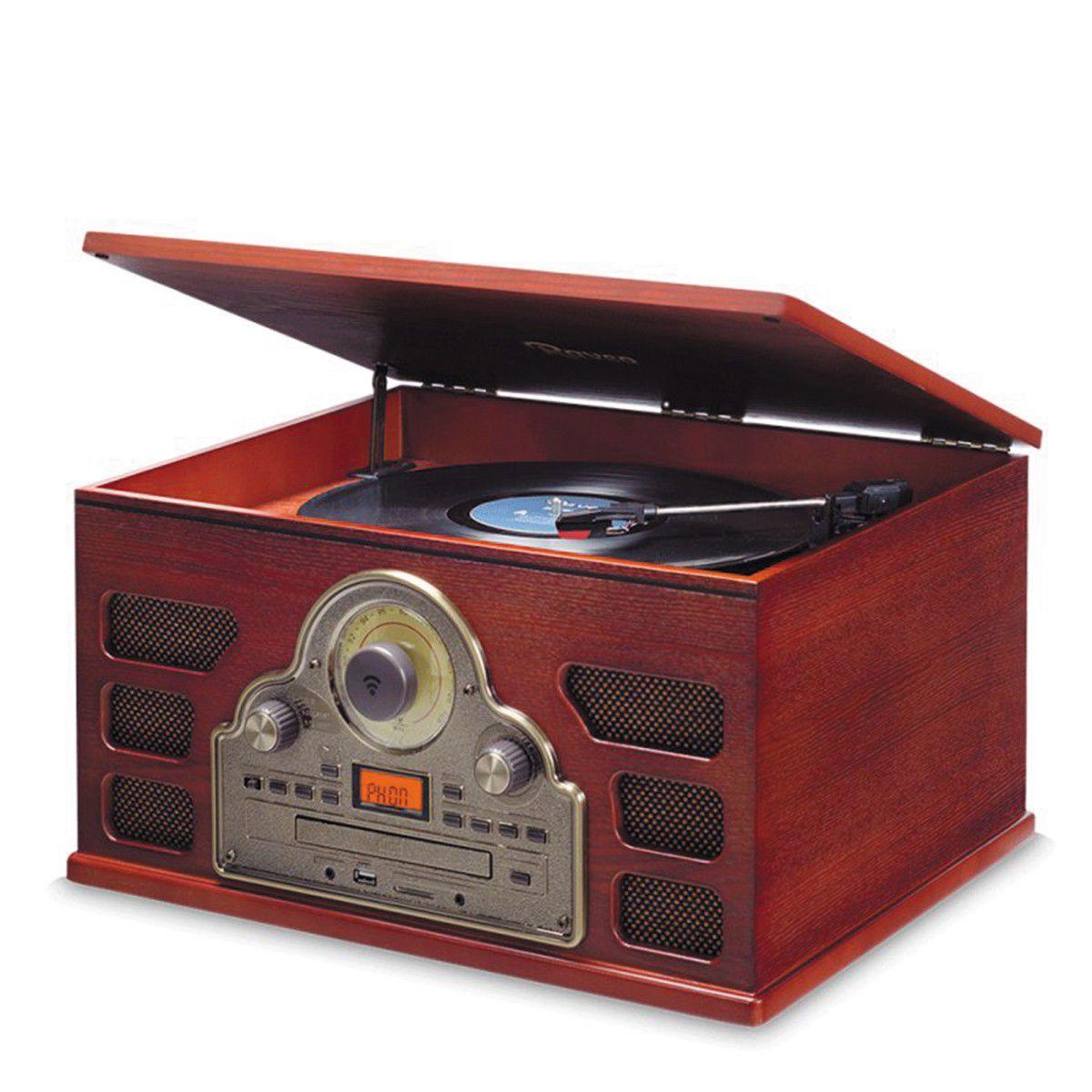 Vitrola Raveo Tenor C/ Toca Discos, Cd, Rádio Fm, USB, SD E Bluetooth C/ Nfc