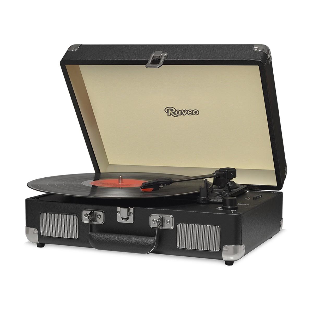 Vitrola Retrô Raveo Sonetto Chrome Black, Toca Discos, Entrada USB, Bluetooth, Reproduz e Grava Vinil