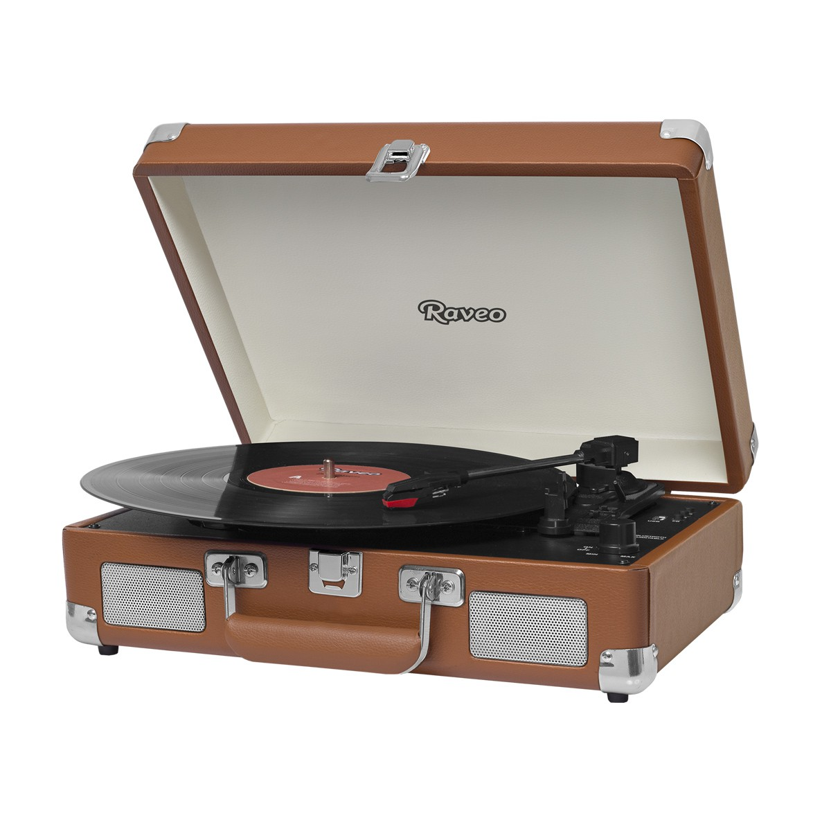Vitrola Retrô Raveo Sonetto Chrome Brown, Toca Discos, Entrada USB, Bluetooth, Reproduz e Grava Vinil