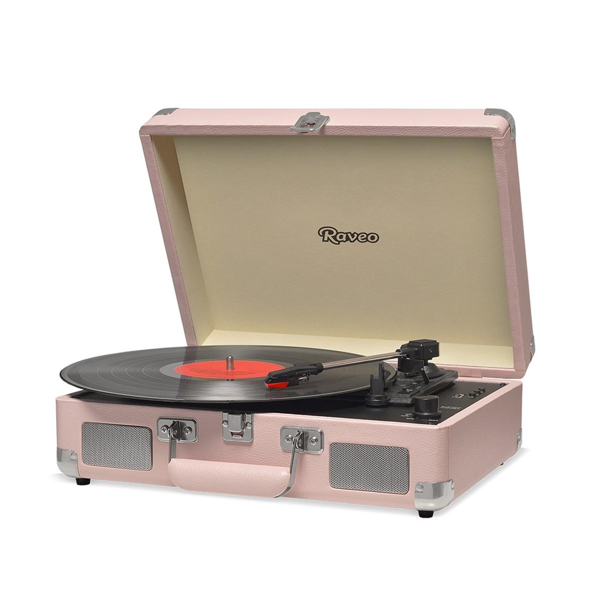 Vitrola Retrô Raveo Sonetto Chrome Coral, Toca Discos, Entrada USB, Bluetooth, Reproduz e Grava Vinil