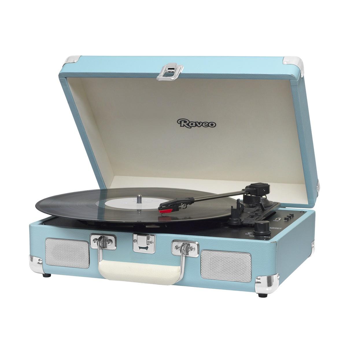 Vitrola Retrô Raveo Sonetto Chrome Light Blue, Toca Discos, Entrada USB, Bluetooth, Reproduz e Grava Vinil