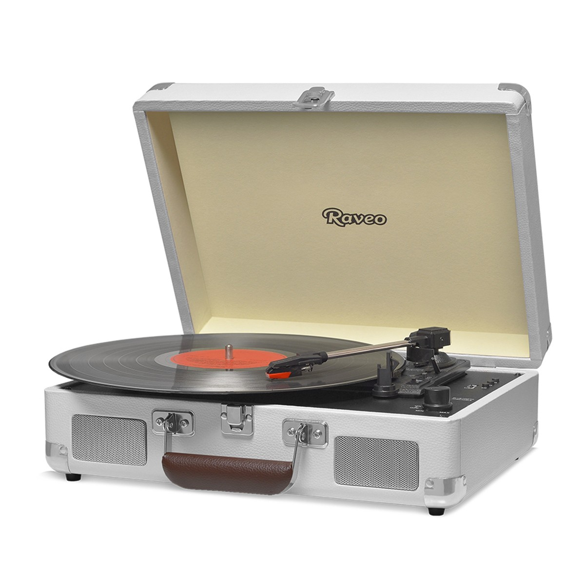 Vitrola Retrô Raveo Sonetto Chrome Sand, Toca Discos, Entrada USB, Bluetooth, Reproduz e Grava Vinil
