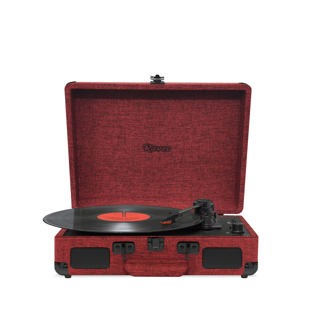Vitrola Retrô Raveo Sonetto Onix Fire, Toca Discos, USB, Bluetooth, Reproduz e Grava Vinil