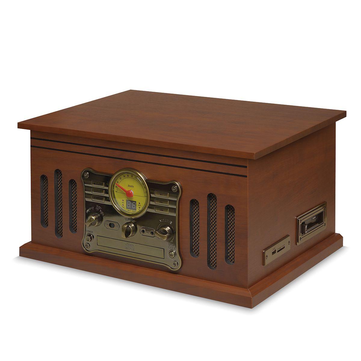 Vitrola Retrô Raveo Stadio Toca Discos, Fita K7, USB, CD, FM, Bluetooth