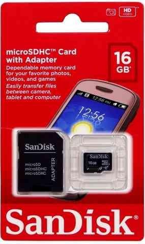 Cartão de memória SanDisk 16G