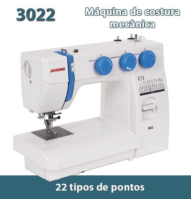 Máquina de Costura Mecânica Janome Modelo 3022 / 110V