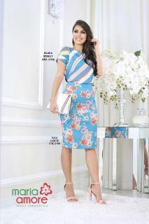 87116266e7 Saia Lápis Floral em Crepe Maria Amore