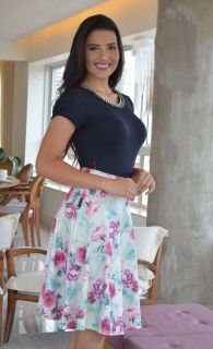 26acb0a208 Saia Midi Malha Soft Gode com Rosas Maria Amore