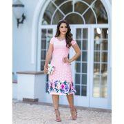 276b2c2359 Vestido Fagian em Neopreme Poá com Barrado Floral