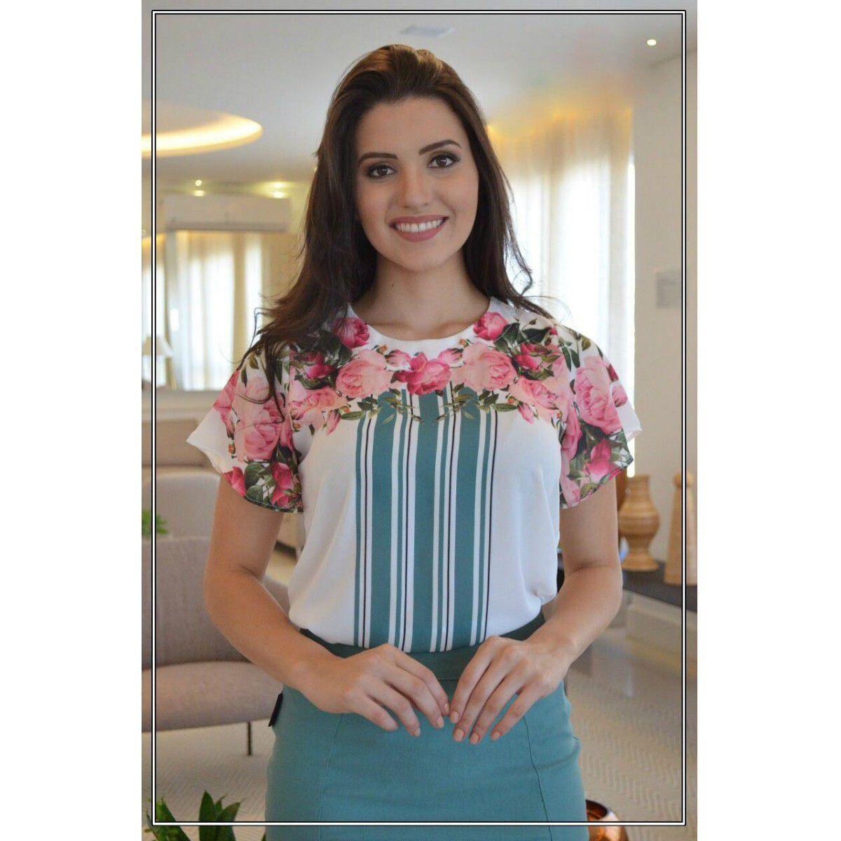 7e341d4b1 Blusa Estampada em Crepe Maria Amore - DM Veste - Moda Evangélica e  Executiva ...