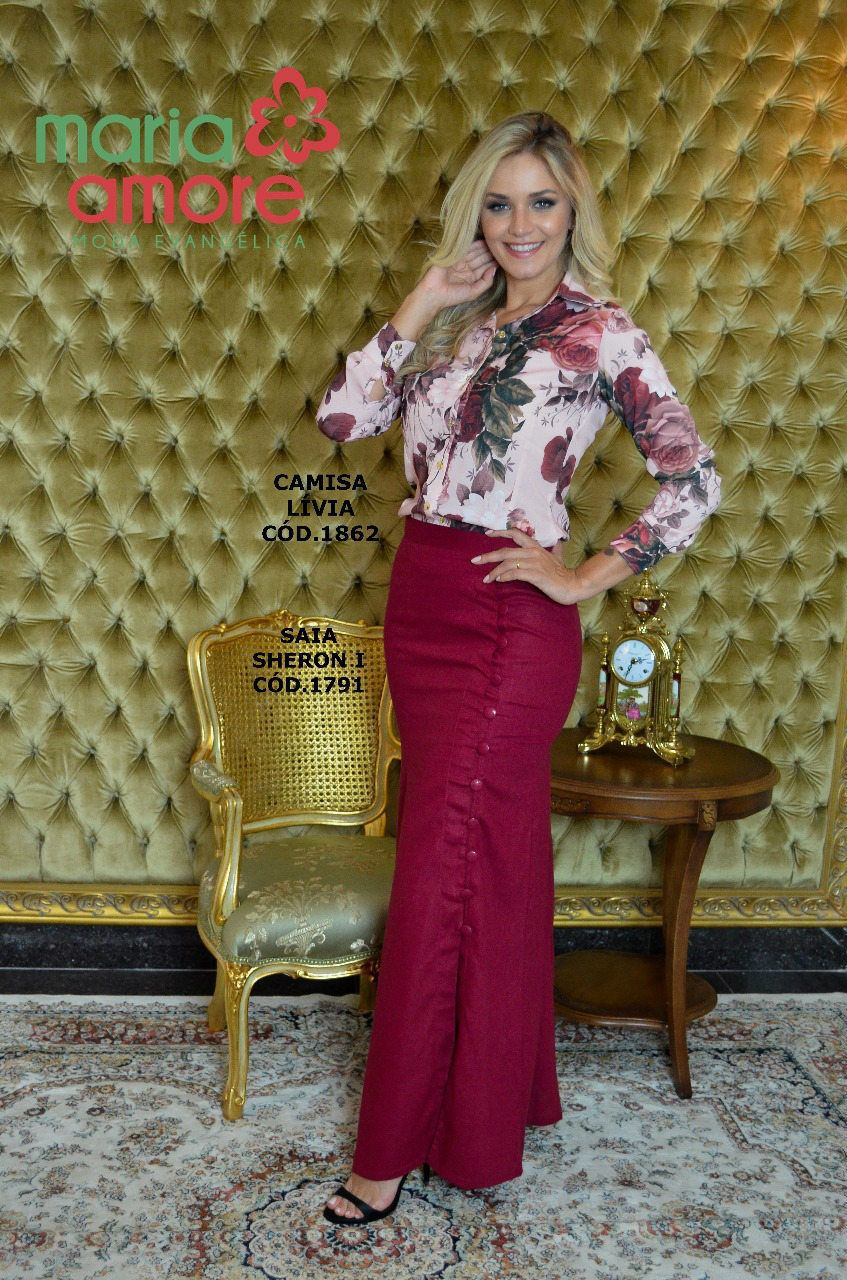 3260eb44d Saia longa Sharon em Linho Maria Amore Moda Evangélica, Moda ...