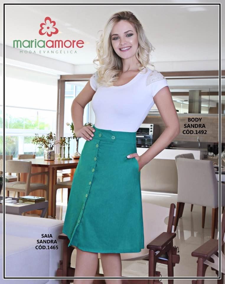 66f4446e7 Saia Midi Maria Amore em Linho Moda Evangélica, Moda Cristã e Moda ...