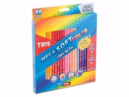 5288e0addf Lápis De Cor Tris Mega Soft Color 48 Cores + 01 Apontador