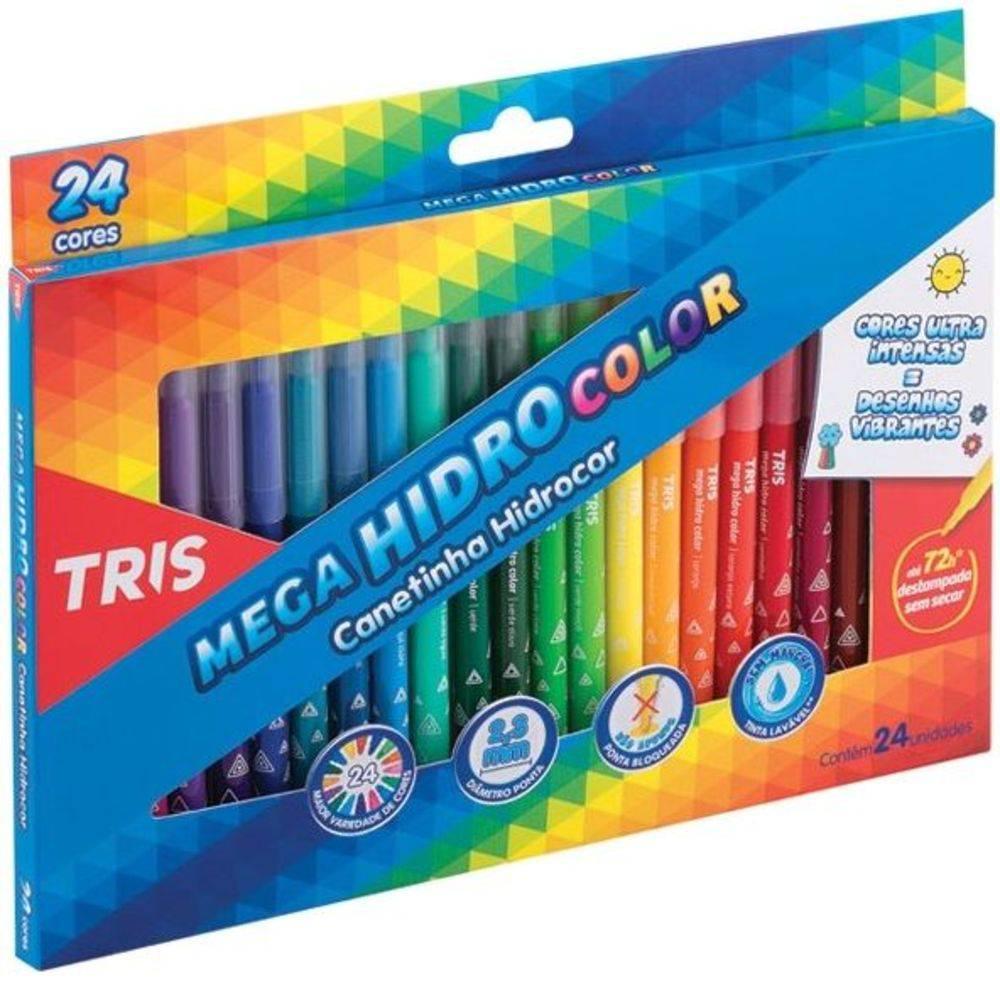 e78628fa07 Caneta Hidrográfica 24 Cores Lavável Mega Hidro Color Tris