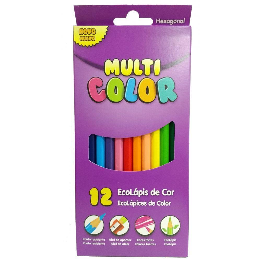 61e922fb15 Lapis De Cor 12 Cores Longo Multicolor