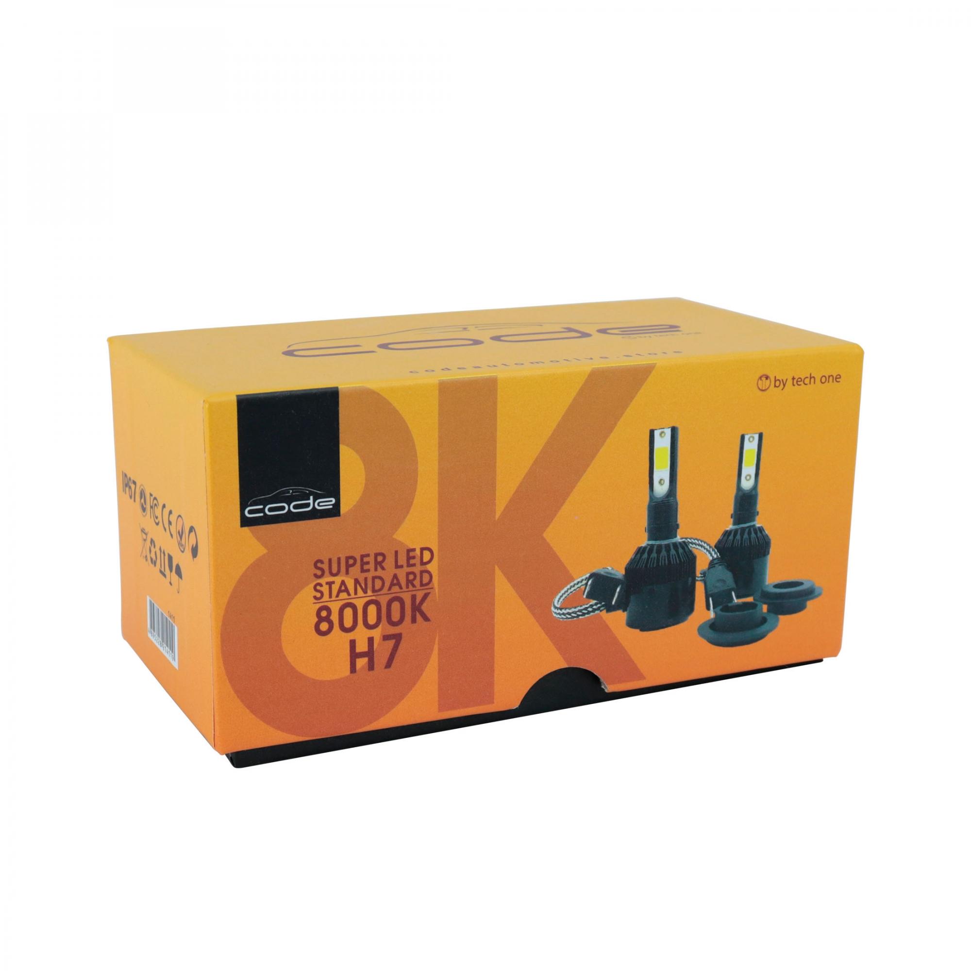 KIT LÂMPADA SUPER LED STANDARD 8000K - CODE - 12V - H7