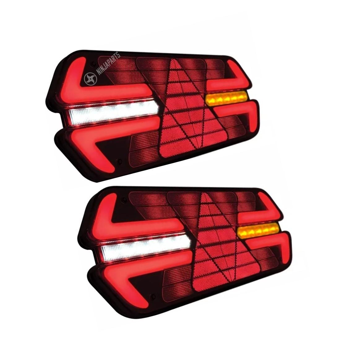 PAR LANTERNA TRASEIRA LED TRIPLO X PISCA SEQUENCIAL - PRADOLUX - 12V/24V - VERMELHA COM CHICOTE