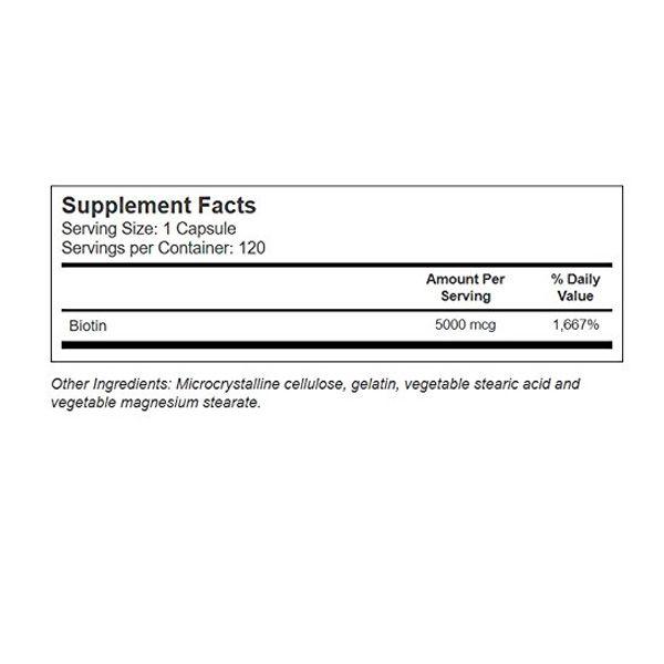 Biotina 5000 Mcg - 120 cápsulas
