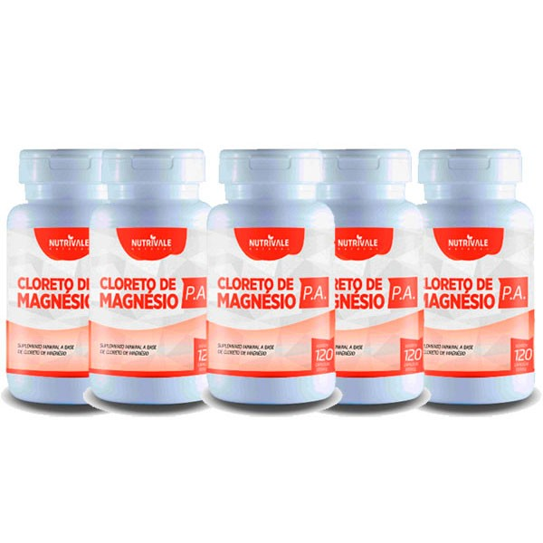 KIT 5 Potes Cloreto de Magnésio PA Total 600 cápsulas 500mg Nutrivale Natural