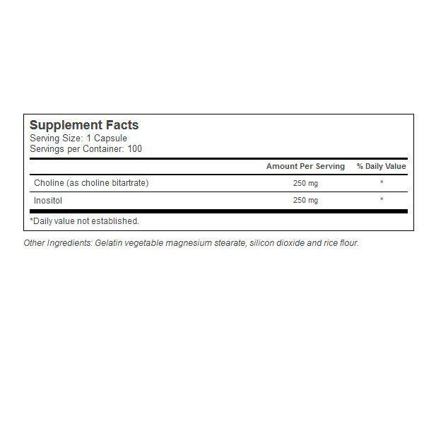 Colina Bitartrate + Inositol 500mg. 100 capsulas. Importado e com alto grau de pureza.