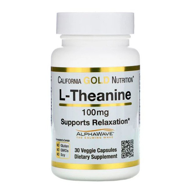 L-Theanina 100 mg de alta absorção. 30 caps. California Gold Nutrition.