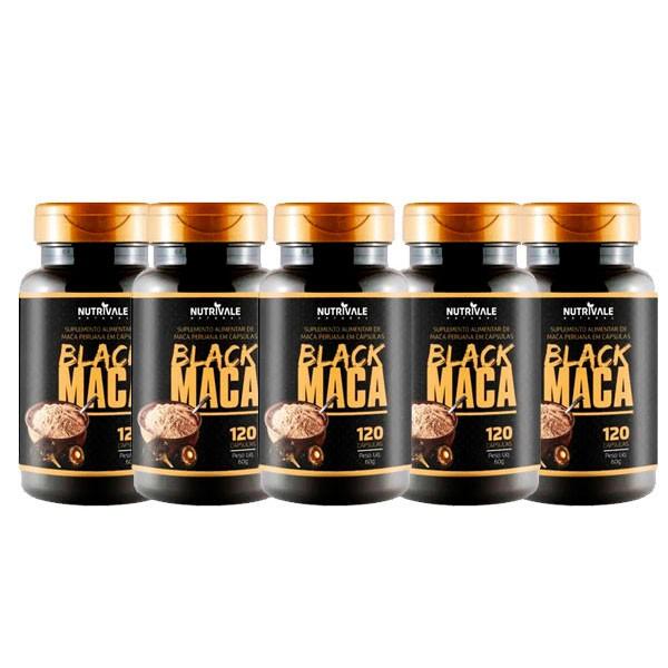 KIT 5 Potes Maca Peruana Black 120 cápsulas - Total 600 Cápsulas Nutrivale Natural