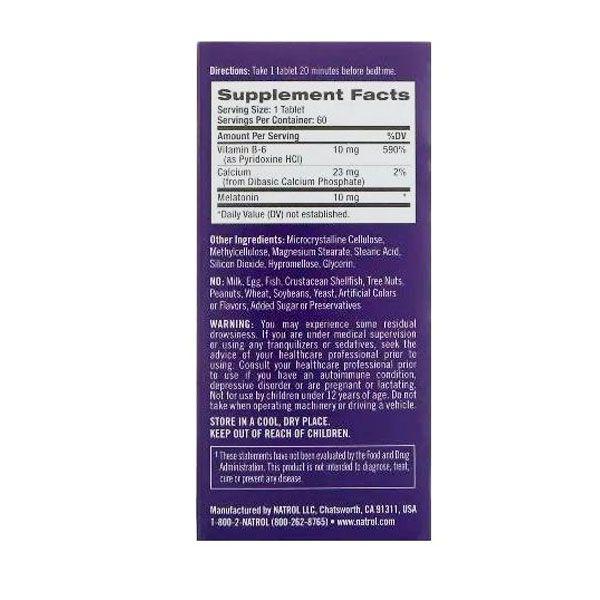 Melatonina 10 mg  -  Advanced Sleep - Liberação Prolongada  ( com vit B6 ) 60 tabletes