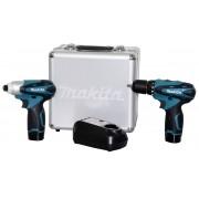 Combo Makita LCT204 = Furadeira DF330D + Parafusadeira Impacto TD090D + 02 baterias + maleta + carregador bivolt
