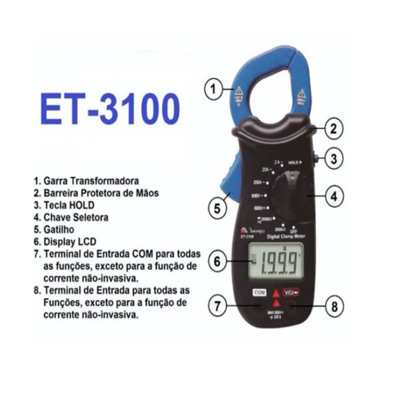 Alicate Amperimetro Digital 3.1/2 CAT II 600V Minipa ET-3100