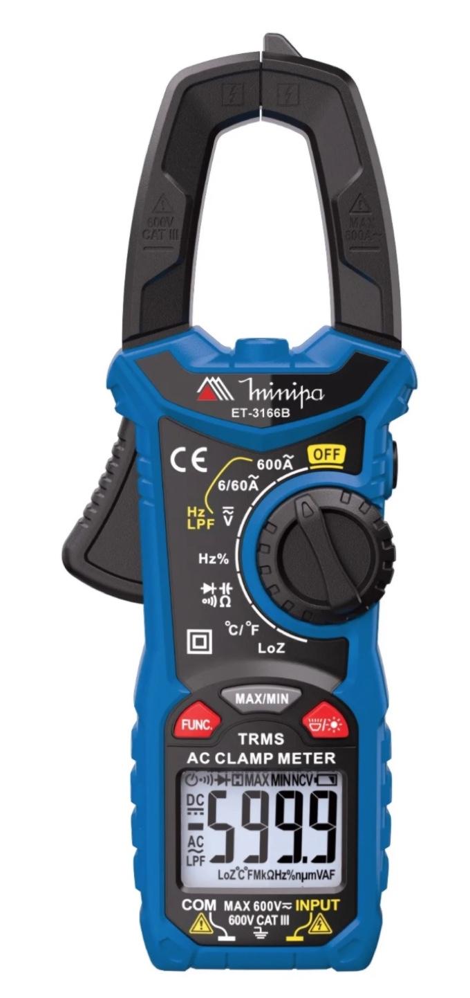Alicate Amperimetro Digital 3.3/4 CAT III 600V MINIPA ET-3166B