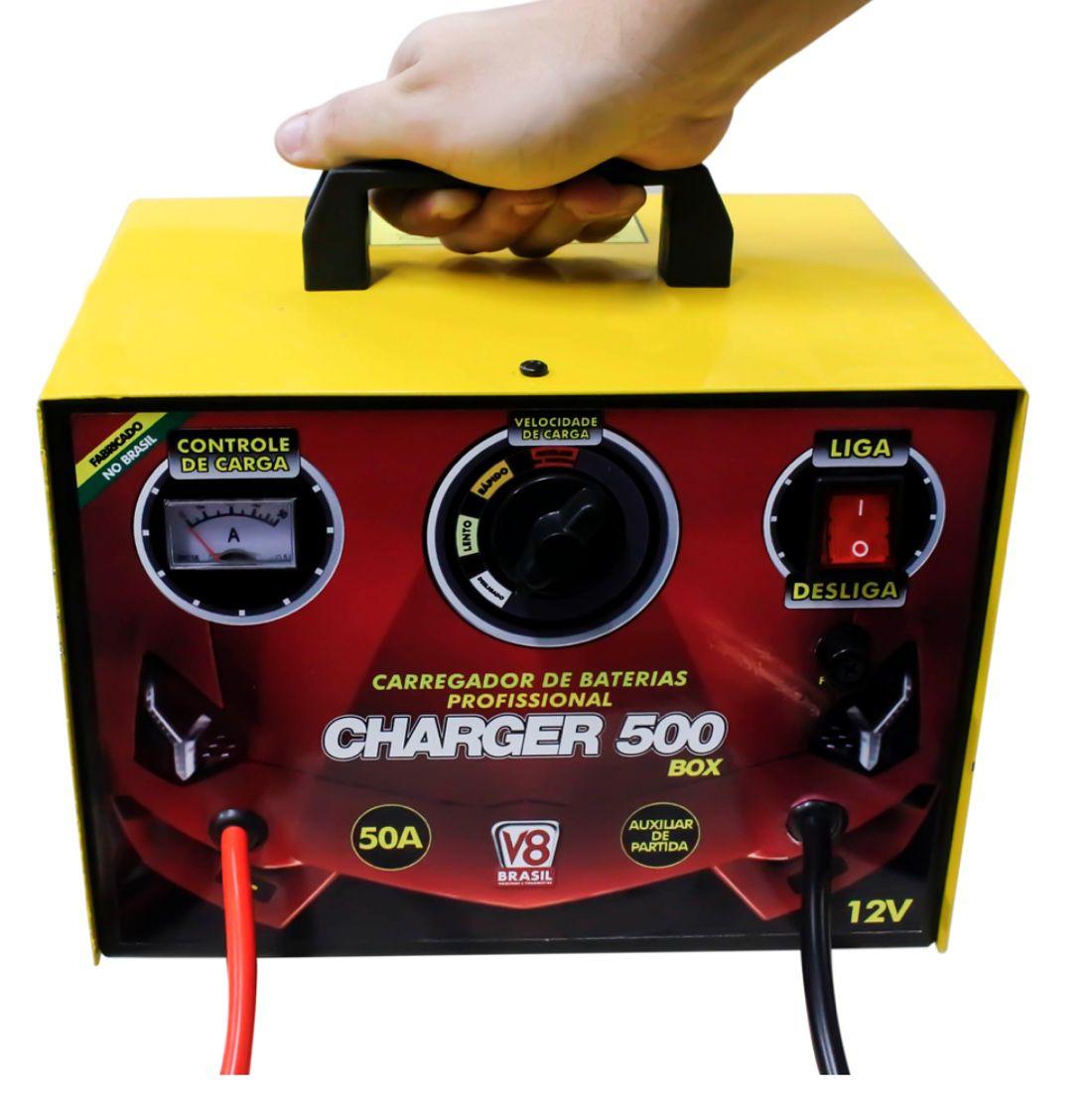 Carregador de Bateria V8 Brasil Charger 500 BOX com auxiliar de partida