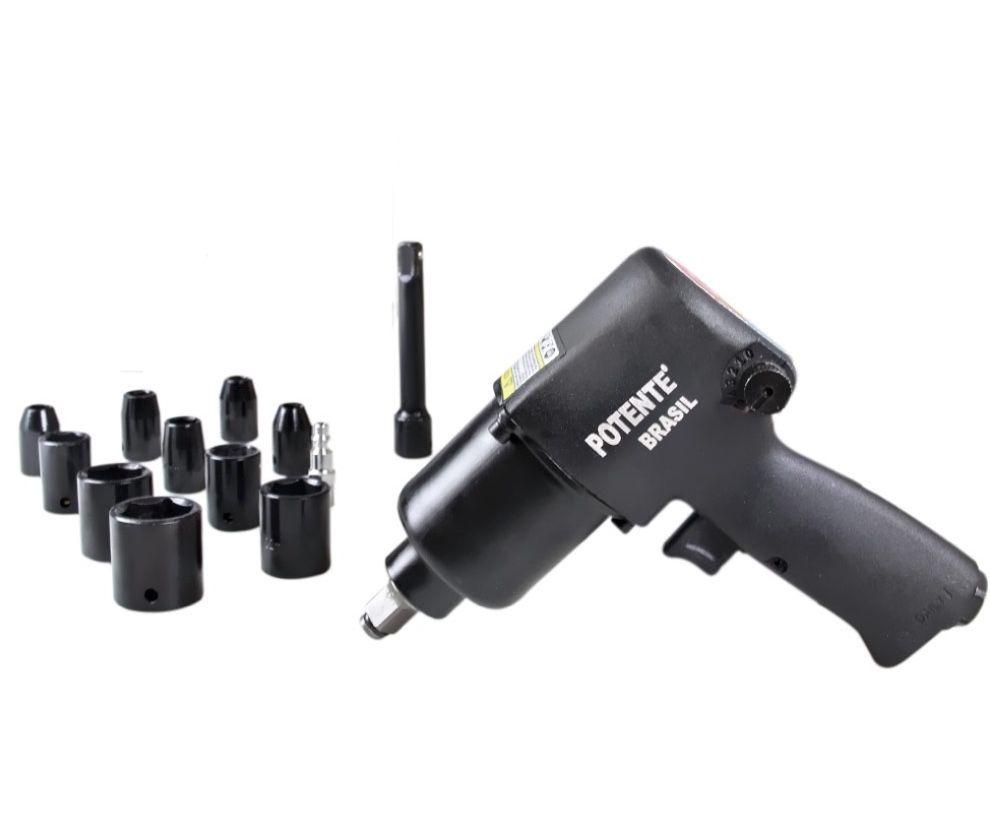 """Chave Impacto Pneumática Potente 1/2"""" PN120255 com kit acessórios"""