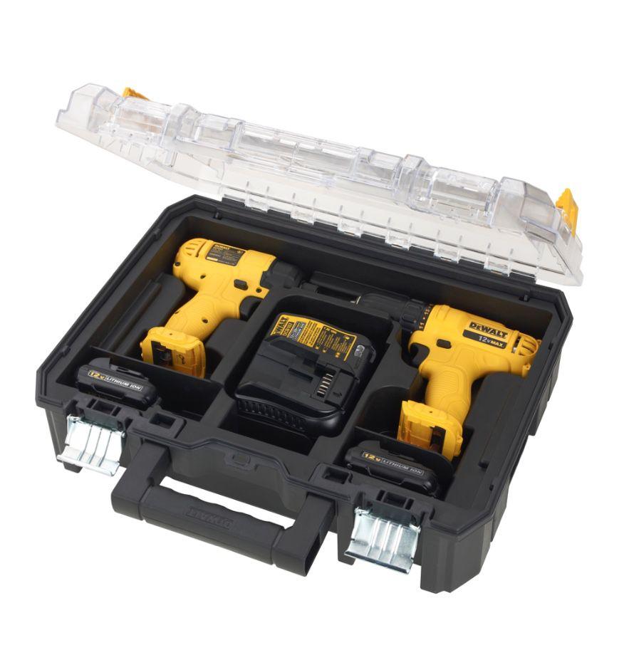 Combo Dewalt DCK201C2 - Furadeira DCD700 e Parafusadeira DCF805 12v + 2 Baterias + Carregador Bivolt